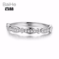 BAIHE Sterling Silver 925 0.15CT Certified H/SI 100% Genuine Natural Diamonds Engagement Women Trendy Fine Jewely Ring