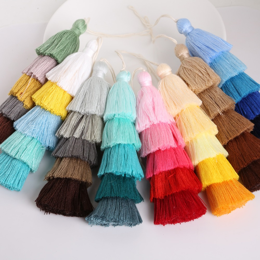 15cm 5 Layers Design Cotton Silk Tassel For Key Chain Hanging Bag Garment Decoration DIY Sewing Curtains Accessories