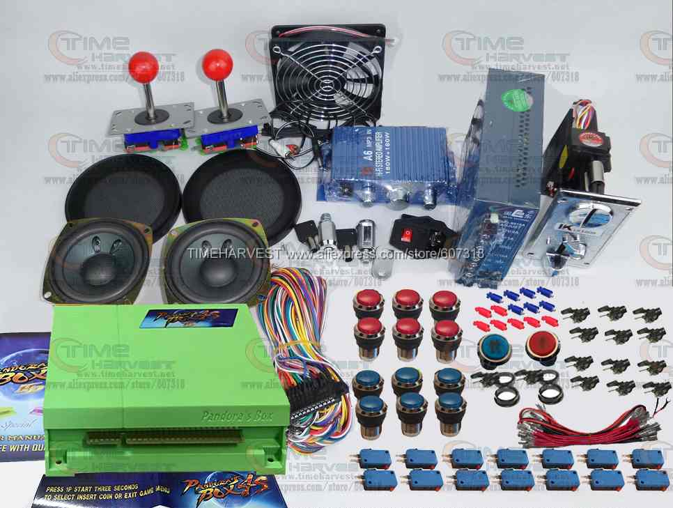 Arcade parts Bundles kit With 680 in 1 Pandora Box 4S Joystick Microswitch Chrome illuminated Buttons for Arcade Cabinet Machine