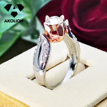 AKOLION  New Arrival Hot-Selling Women Accessories Simulation of Rose Flower Color Separation Modern wedding Ring Btjz--39