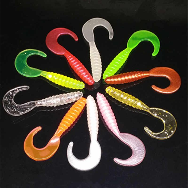 10 цветов силиконовая резиновая фальшивая приманка в виде личинок светящаяся мини кудрявый хвост груби мягкие наживки в виде червей 3,5 см 5,5 см 7 см рыболовная приманка