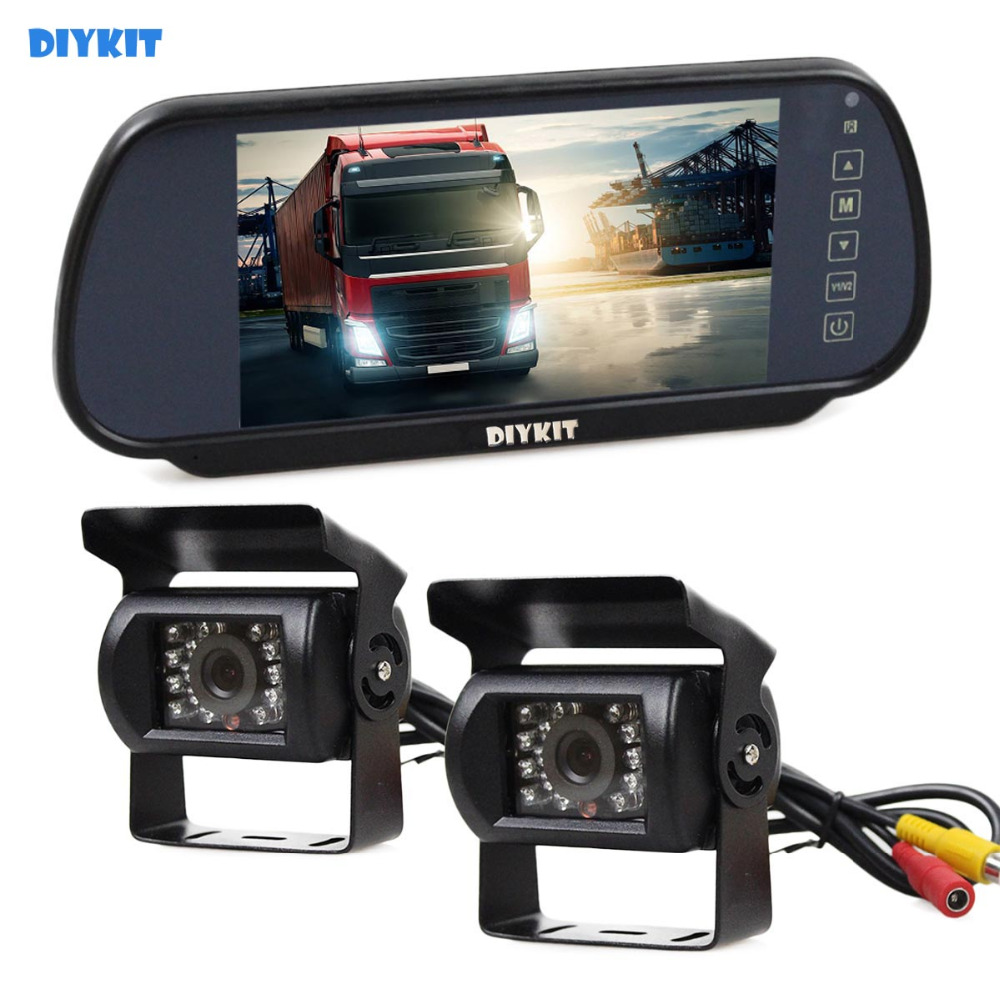 DIYKIT Wired 7inch Mirror Monitor Car Monitor + 2 x Waterproof Night Vision CCD Rear View Car Camera for Truck Caravan Bus Van diykit wired 12v 24v dc 9 car monitor rear view kit backup waterproof ccd camera system kit for bus horse trailer motorhome
