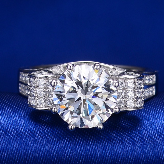 Test Positive Genuine Brand Moissanite CHARLES & COLVARD 3CT Moissanite Diamond Jewelry Engagement Ring Solid 18K White Gold