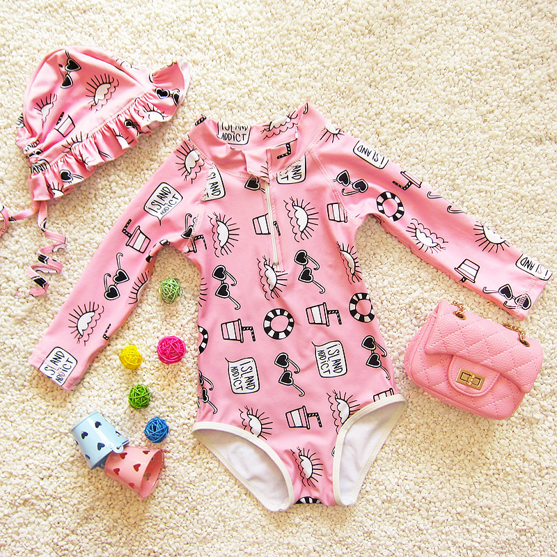 Manga longa Maiô Meninas Um Pedaço Biquíni Terno de Natação para Crianças  Swimwear Meninas Maiô Bebê ee95dbbeb7e