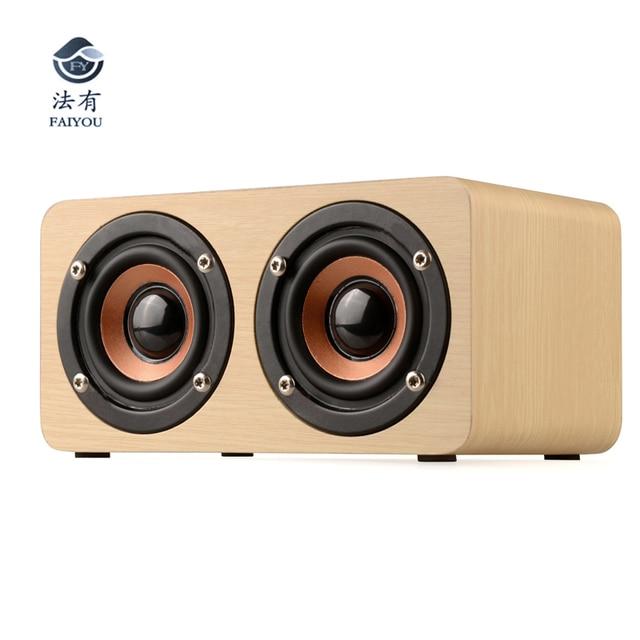 Fashion Wooden Bluetooth Speaker With Dual-horn Bass Music Sound Intelligent Calls Handsfree TF Card Aux Mode Super Bass Speake