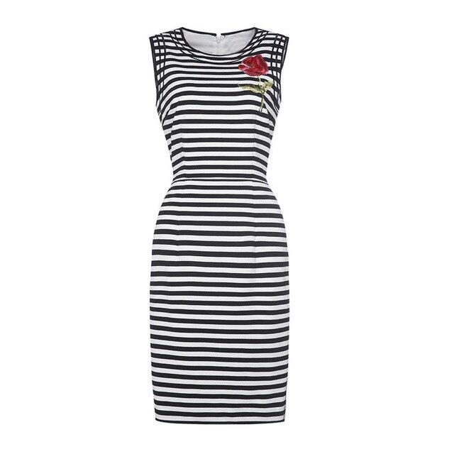 European Boutique Womens Black and White Stripe Splicing Embroidery Sleeveless Elegant Wear to Work Vestido Dress