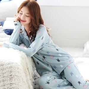 Image 3 - Long Sleeve Cotton Pajama Set 2018 Turn down Collar Sleepwear Spring Autumn Winter Women Pijama Mujer Cute Cartoon Pyjamas Femme