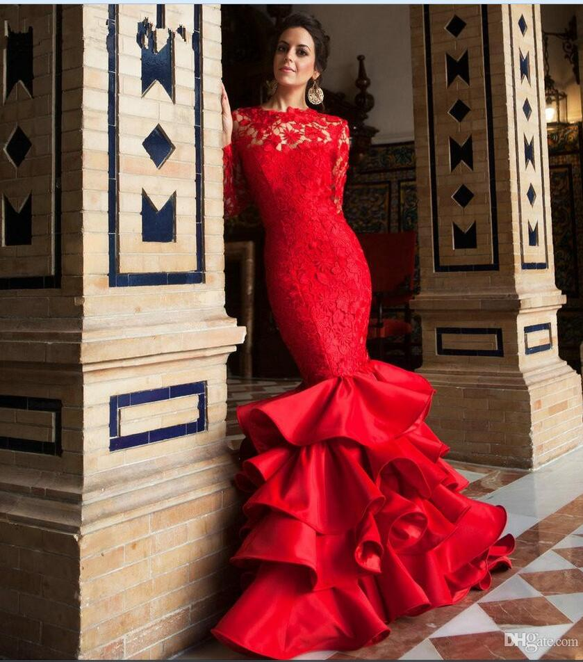 Online shop 2017 beautiful red color sexy mermaid long sleeve lace online shop 2017 beautiful red color sexy mermaid long sleeve lace wedding dresses tiered ruffles skirt wedding gowns unique design 2017 aliexpress mobile ombrellifo Images