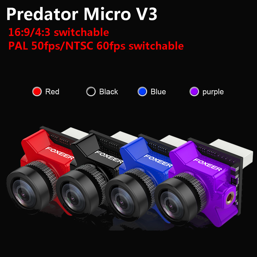 Foxeer Predator Micro V3 16:9/4:3 PAL/NTSC Switchable Super WDR 4ms Latency OSD FPV Camera For RC Models Racing Drone Spare Part caddx turbo micro s2 2 1 1 8mm fpv camera 4 3 pal ntsc newest ccd sensor with ultra low latency yellow for rc fpv racing drone