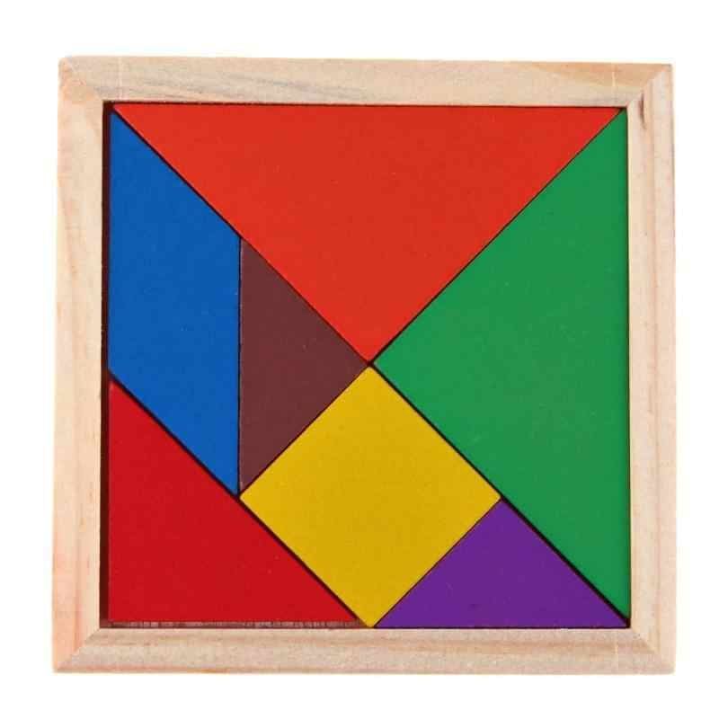 Baby Wooden Tangram Jigsaw Puzzle Toy Montessori DIY Geometric Shape Early Childhood Educational Toys for Children Kids