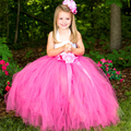 Pageant Girl Chic Fluffy Bowknot Birthday Tutu Skirt Big Kids Handmade Crochet Skirts With Big Flower Headband Wedding Clothing