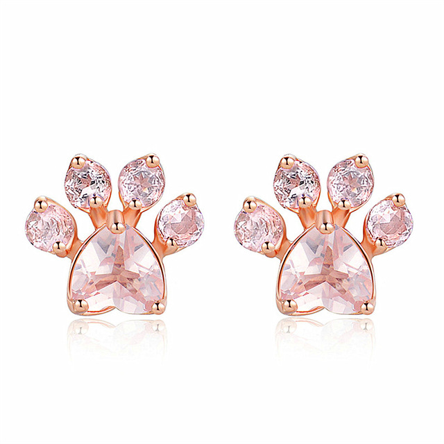 Shiny Pink Cz Bear Stud Earrings Jewelry Dog Paw Print Earring Female Small Animal For