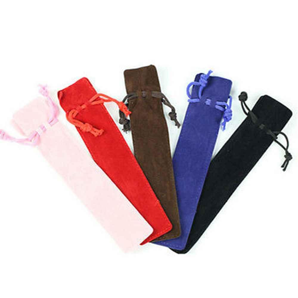 1 قطعة المخملية القلم حامل الأكياس واحدة حقيبة أقلام رصاص القلم حالة مع حبل ل رولربال/نافورة/قلم 5 ألوان
