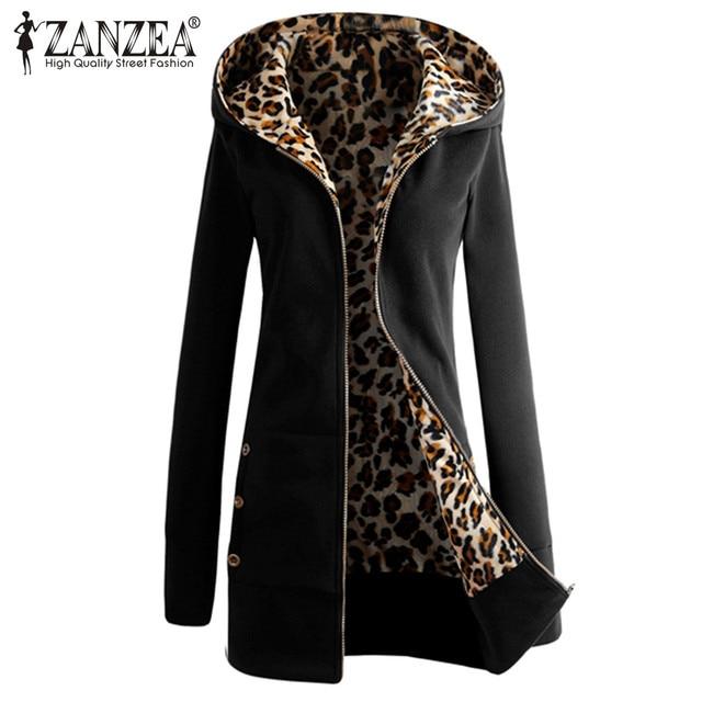 Zanzea 2016 Новая Мода Leopard Fleeve Капюшоном Куртки Случайные Дамы Зима Тонкий Длинный Теплое Пальто Молния Верхняя Одежда Плюс Размер