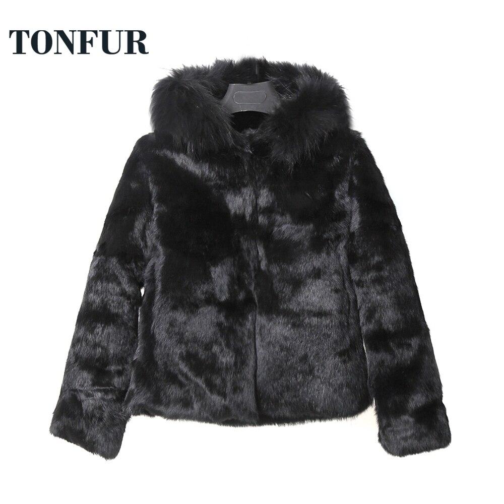 Hooded Real Fur Coat Natural Fox Fur Collar Za 2019 Women Clothes Pure Fur Jacket Parka Hot Low Discount Tsr657