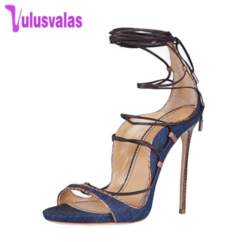 Party 33 Up Vulusvalas 43 Zapatos Moda Tacón Sandalias Tamaño Mujeres  Vintage Jeans De Calza Alto ... 103c53ba3f17