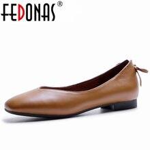 4db409f05 FEDONAS Básico Mulheres Deslizar Sobre Bombas Sapatos Genuína Moda De Couro  Confortáveis Sapatos Casuais Condução Sapatos Mulher.