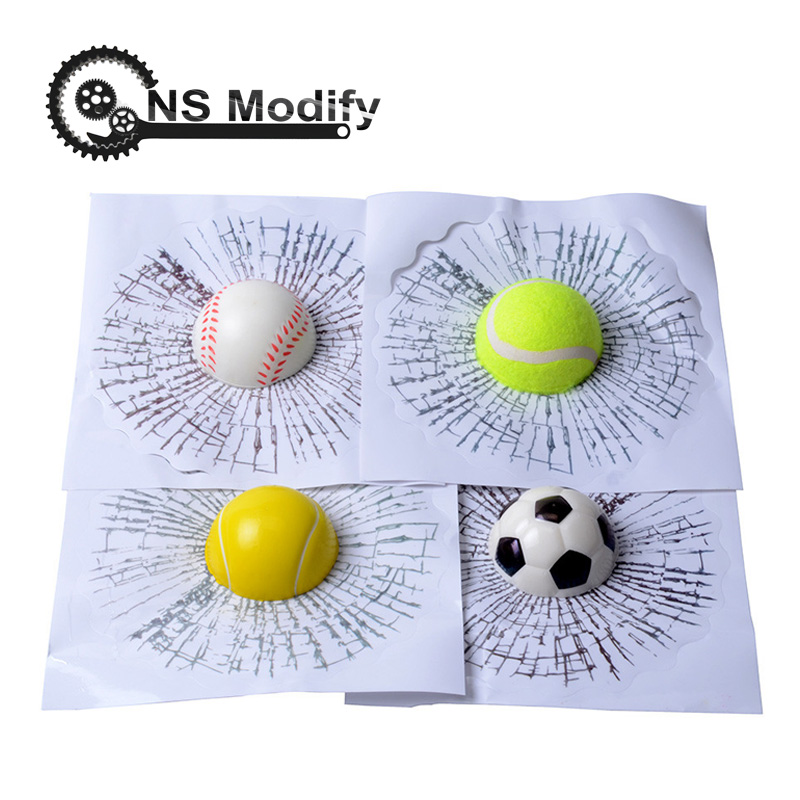 NS Modify Car Styling Baseball Football Tennis Stereo Broken Glass 3D Sticker Car Window Ball Hits Self Adhesive Funny Decal-in Car Stickers from Automobiles & Motorcycles