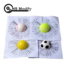 Ns modificar estilo do carro beisebol futebol tênis estéreo vidro quebrado 3d adesivo bola janela do carro bate auto adesivo engraçado decalque
