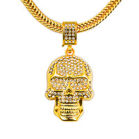 High quality Hip Hop Punk Gold Skeleton Skull Head Bling Iced Out Pendants Necklaces Mens Pendants Necklace Luxury Jewelry