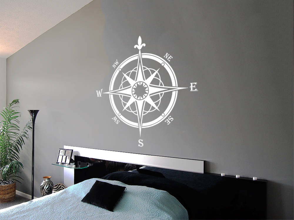 Bedroom Nautical Decor Compass Rose Wall Decor Navigate Vinyl Stickers Decals Compass Bathroom Ocean Decor F122 Compass Wall Decal