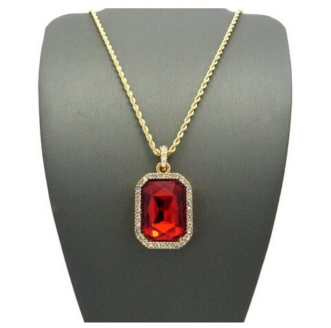 Mens gold color iced out red crystal pendant necklace high quality aeproducttsubject aloadofball Gallery