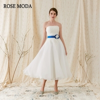 Rose Moda Strapless Organza Tea Length Wedding Dress 2018 Lace Beach Wedding Gowns With Removable Flower