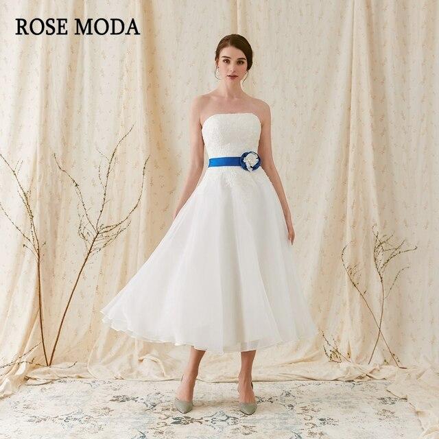 Rose Moda Strapless Beach Wedding Dress 2018 Short Dresses Tea Length With Lace Detachable Blue