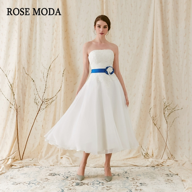 1f9f4a2332c5b Rose Moda Strapless Beach Wedding Dress 2019 Short Wedding Dresses Tea  Length with Lace Detachable Blue Sash Real Photos