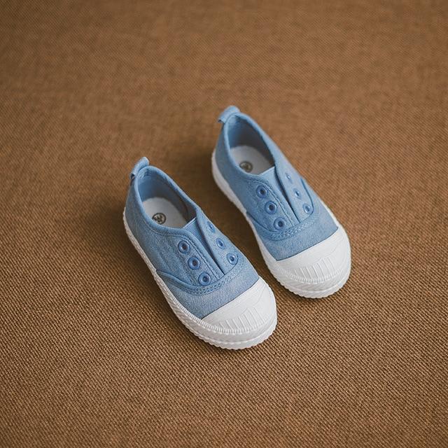 2016 Children Shoes Children's Denim Elastic Canvas Shoes Boys Girls Buttonhole Casual Shoes Flat Kids Shoes Fashion Sneakers