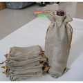 Wine Bottle Jute Gift Bag 15x36cm (6x13.75) pack of 20 Olive oil Champagne Bottle Covers Sack Linen Flax Pouch
