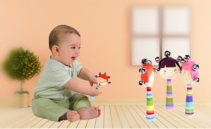 Dear mom and dad baby wooden toy baby cart hand bells rang