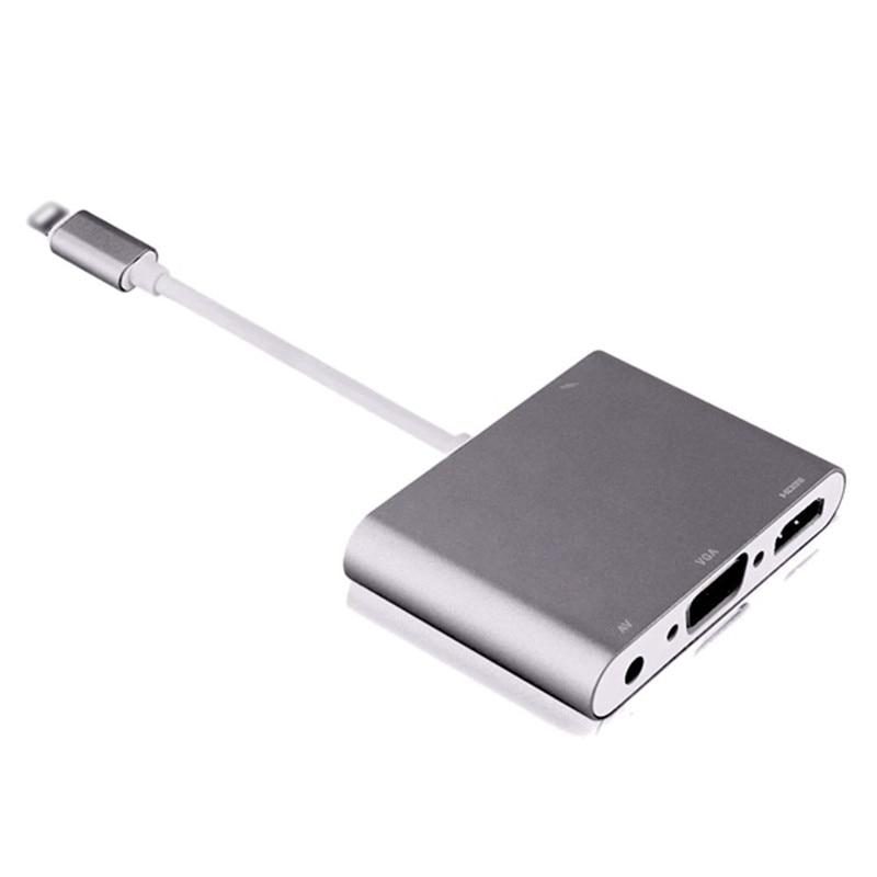 HDTV de alta Qualidade OTG Cabo Para Relâmpago Ao Adaptador HDMI VGA AV de Áudio e Vidio Para O Iphone X 8 7 6 mais Para IPad Air/Mini/Pro