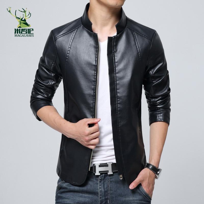 2016 New Fashion pria PU Jaket Berdiri Kerah Mens Jaket Kulit Pakaian - Pakaian Pria