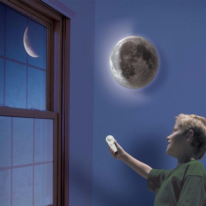 Крытый светодиодный настенный лунный светильник ночник 6 видов фазы Луны с пультом дистанционного управления для детей художественное оформление комнаты