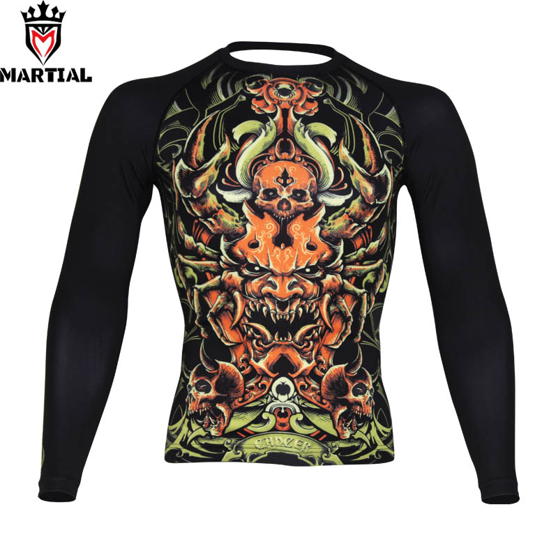 Free Shipping Martial : Cancer Constellation Printed Full Sleeve Rashguards Fitness Mma Boxing Jersey  RASHGUARDS Running Shirt