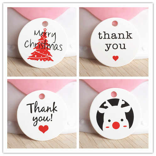 1.18inch 100pcs kraft print paper hand made tag with love for DIY Gift box tag 3cm round lovely product packing/price tags/cards