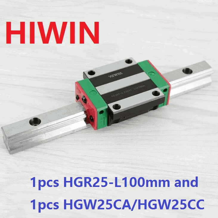 1pcs 100% original Hiwin linear guide rail HGR25 -L 100mm + 1pcs HGW25CA HGW25CC linear flange carriage block for cnc original new hiwin linear guide block carriages hg25 hgw25cch hgw25cc hgr25 for cnc parts