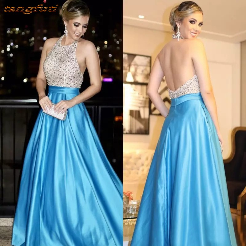 Sky Blue Long   Prom     Dresses   Party Gowns Satin Luxury Backless Beaded Crystal Women Party Formal   Dresses   Evening Gown Wear 2019