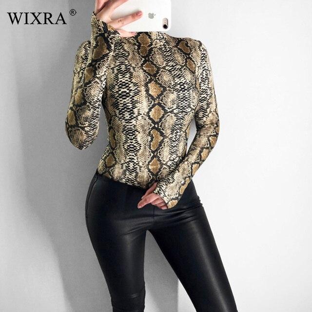 82e33ba74b Wixra 2019 Women s Clothing New Hot Long Sleeve Snakeskin Bodysuits Trendy  Playsuits For Female