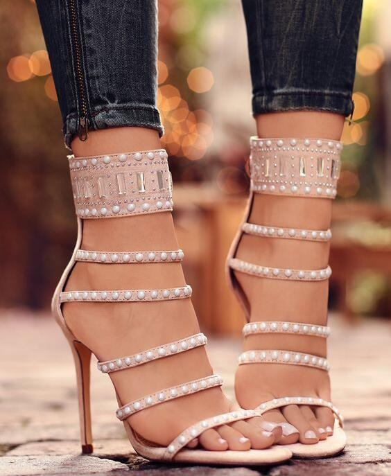 Summer Female Dress Mujers Women Fashion Nude Pearls Buckle Zip Back Strips Stiletto Heel Party Prom Wedding Sandals Pumps Shoes zip back fit and flared plaid dress
