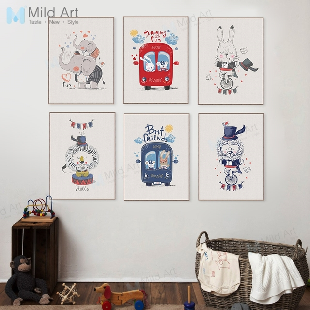 Cartoon Animal Circus Bus Lion Rabbit Posters Prints Kawaii Children Room Wall Art Pictures Home Decor Canvas Paintings No Frame