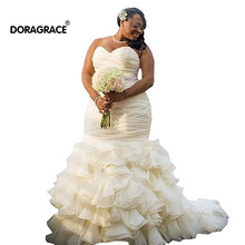 Doragrace Gorgeous Sweetheart Mermaid Organza Ruffles Plus Size Bridal Wedding Dresses DG1901