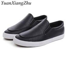 حذاء رجالي الموضة الانزلاق على أحذية من الجلد عادية رجالي مريح الأخفاف أحذية رياضية تنفس 2019 جديد أسود أبيض