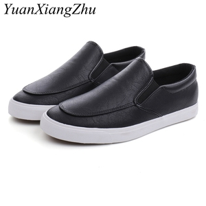 Image 1 - Fashion Men Loafers Slip On Casual Leather Shoes Mens Comfortable Moccasins Shoes Breathable Sneakers 2019 New Black White Flats