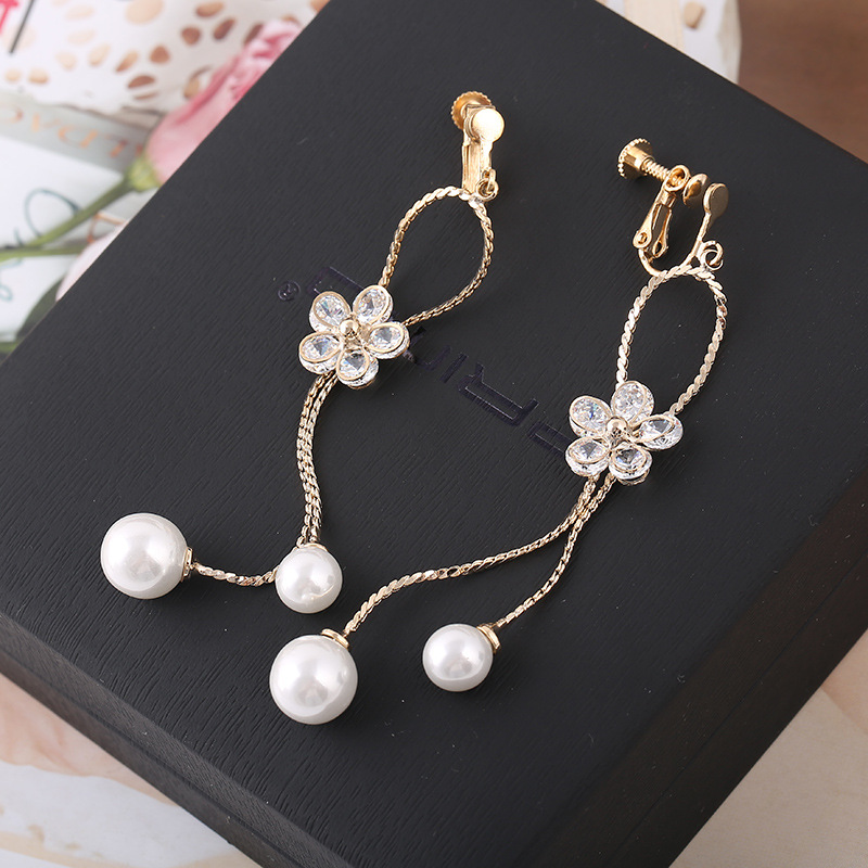 Top Quality CZ Double Tassel Simulated Pearl Flower Shape Clip on Earrings Without Piercing for Women Party Fashion Bijouterie 11 11 sale luxurious pearl clip earrings without piercing for women rose gold color high quality fashion bridal wedding jewelery