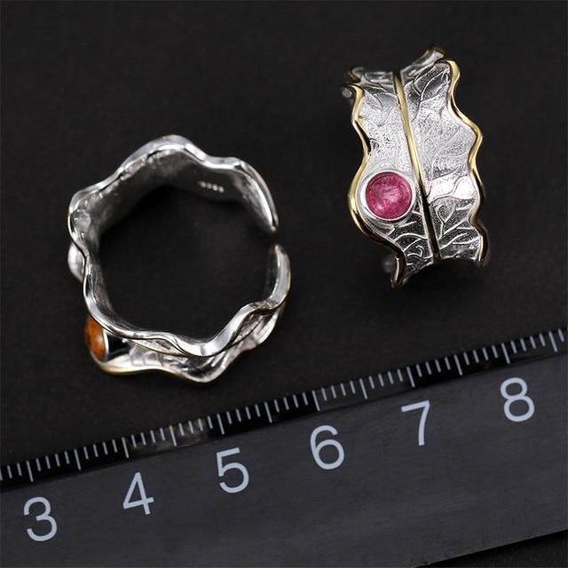 925 Sterling Silver Natural Tourmaline Adjustable Leaf Ring 3
