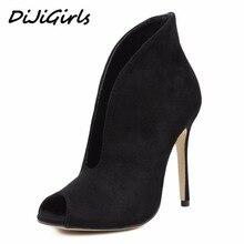 Dijigirls/женские туфли-лодочки обувь на высоком каблуке Женская обувь для вечеринки и свадьбы открытым носком на шпильке летние сапоги V тип размер 35-40 черный