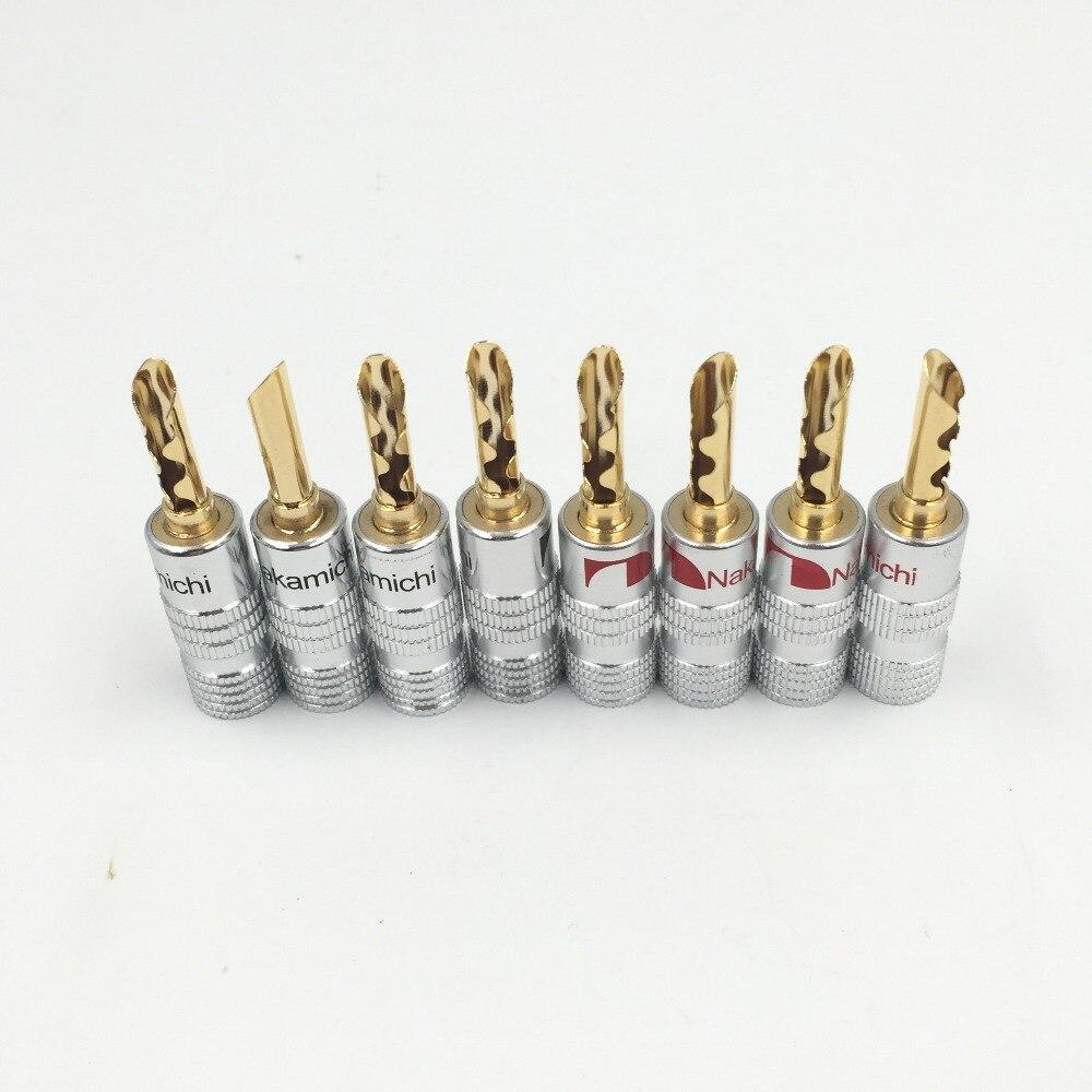 12 stücke Nakamichi 24 Karat Vergoldet Kupfer BFA 4mm Bananenstecker Männlichen Lautsprecheranschluss