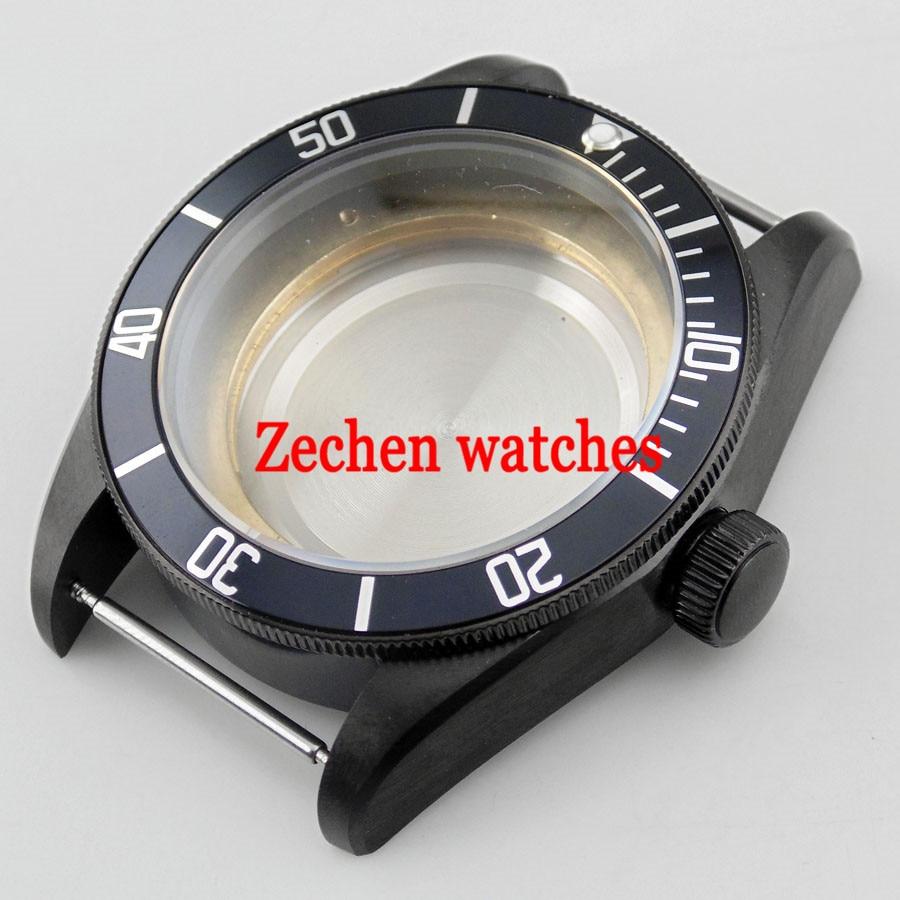 Black 41mm sapphire watch Case fit Miyota 8205/8215,ETA 2836,DG2813 watch цена